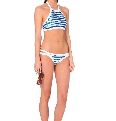 2017 New Sexy high neck stripe two-piece swimsuit Women swimwear Bath Swimwear -0420