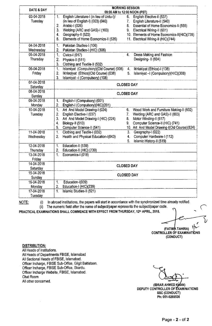 Federal Board 9th and 10th Class SSC Date Sheet 2018