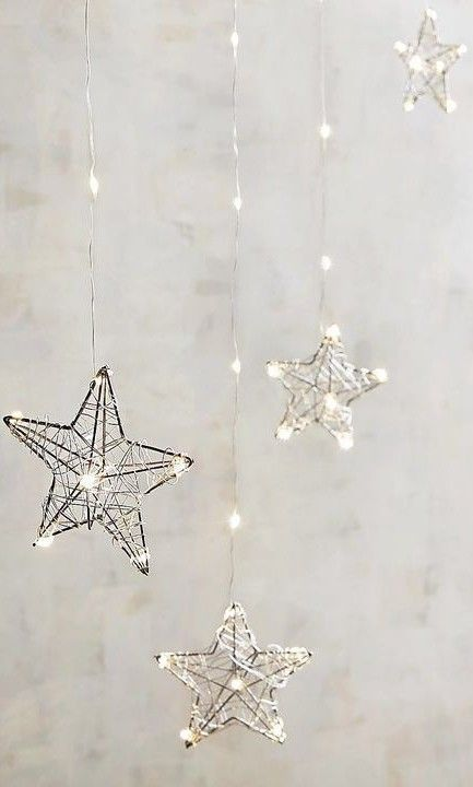 Winter Holidays Decor in Gray / Silver / Hanging Stars