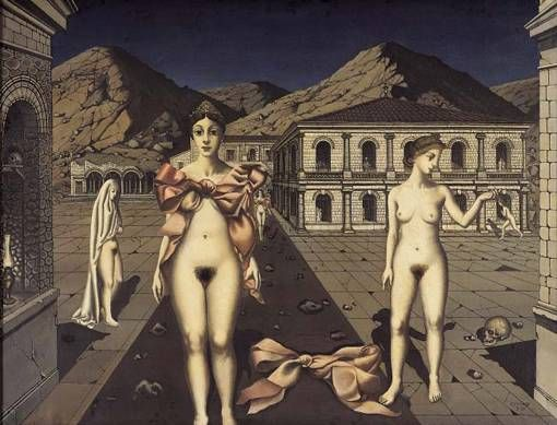 Paul Delvaux - The Pink Bows