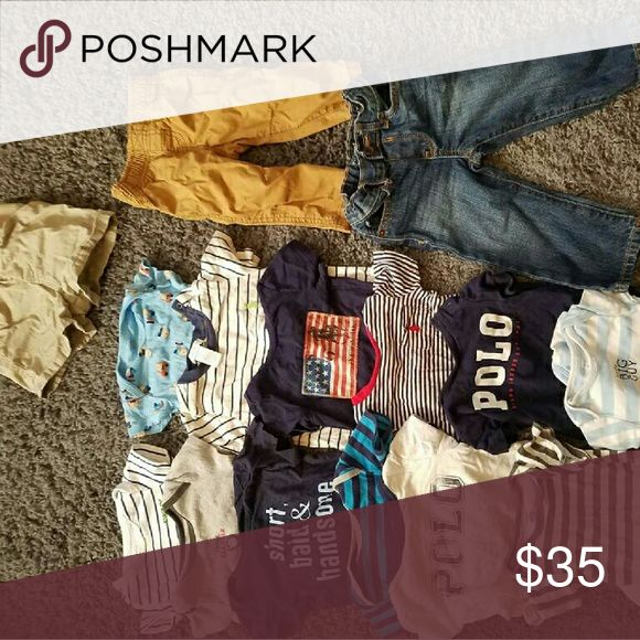 Baby boy name brand clothes.  6-9 and 9-12 All are in EUC, Ralph lauren, children's place, carters, etc! Ralph Lauren Shirts & Tops Tees - Short Sleeve