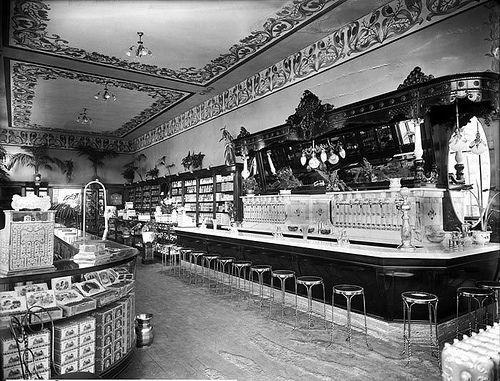The Halliday Drug Company and soda fountain. Salt lake City, Utah, 1920