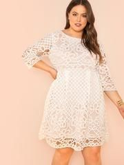 Plus Fit and Flare Lace Dress