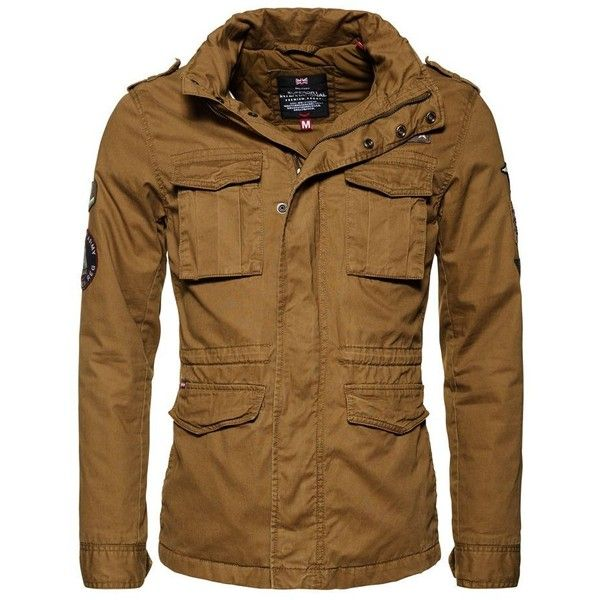 Superdry Rookie Limited Edition Military Jacket (445 BRL) ❤ liked on Polyvore featuring men's fashion, men's clothing, men's outerwear, men's jackets, men coats and jackets, mens cotton jacket, mens quilted field jacket, superdry mens jackets and men's waterproof field jacket