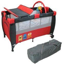 Lit parapluie bébé 60 cm x 120 cm + Matelas et Accessoires - Rouge MONSIEUR BEBE