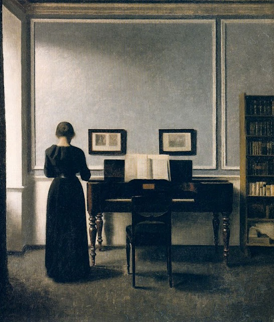 Vilhelm Hammershøi. Interior with Piano and Woman in Black