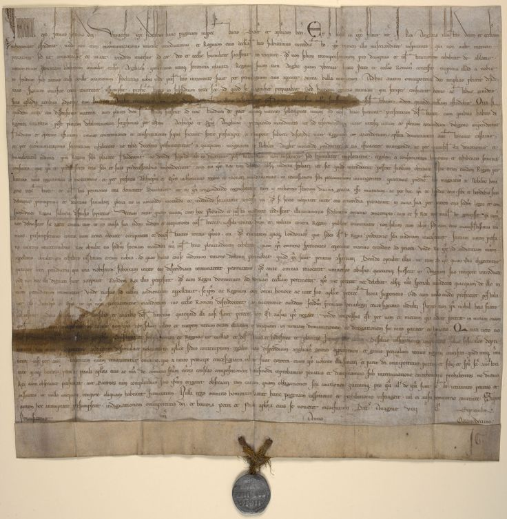 Papal Bull issued by Pope Innocent III attacking the Magna Carta, 1215.