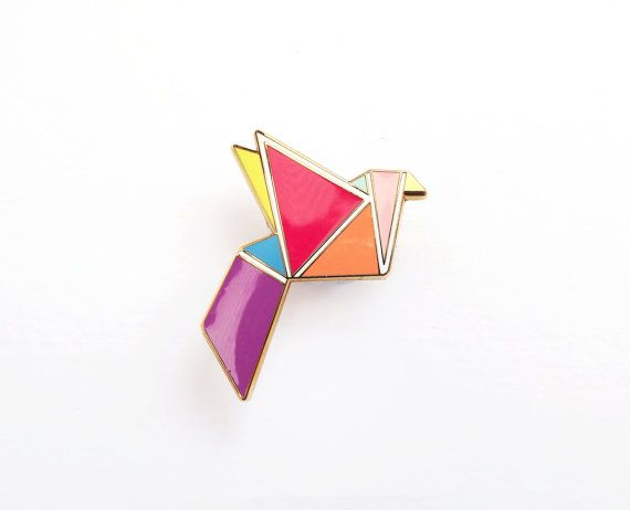 Geometric Brooch Neon 'Origami Bird'
