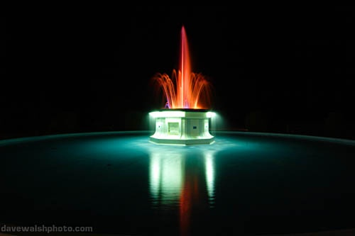Tom Park Fountain in Napier, New Zealand - Napier is the Art Deco city of NZ. The fountain changes colours but this combination is my favourite~    (Photo by Dave Walsh)