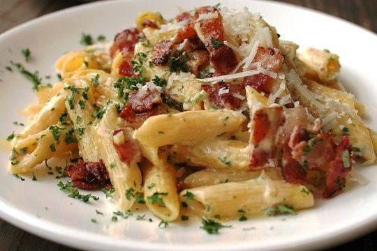 Bacon Parmesan Penne. Simple, honest-to-goodness comfort food. All you need is a bottle of Pinot Noir or cab or both:) hehe.