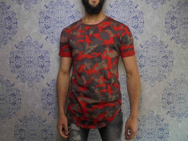 Red camouflage longshirt go for the #valentino look with this sick long tshirt! €24,99 on www.dopedfashion.nl worldwide shipping urban outfits for men with swagger! Also check out the jeans that our model rocks in this picture also available in our webshop. Providing style for reasonable prices!