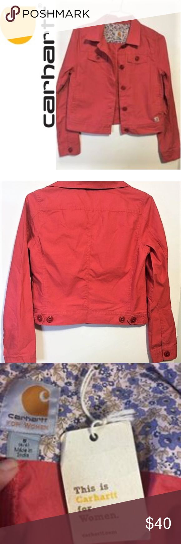 """NWT Carhartt lightweight jacket SZ small NWT Carhartt lightweight jacket in a size small.  Dark coral in color.  featuring four outside pockets and two inside pockets.1.  19"""" pit to pit.  20"""" in length. 100% Cotton. Carhartt Jackets & Coats Jean Jackets"""
