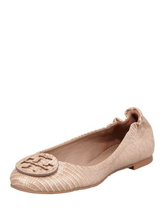 Reva Lizard-Print Ballet Flat, Nut by Tory Burch at Neiman Marcus.
