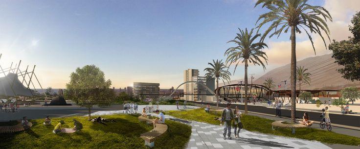 Proyecto intervención urbana Parque Estación Primeras Piedras. AR707, Arquitectura UNAP, Iquique.