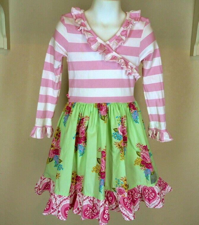 548ef1aff1a Eleanor Rose Candy Hearts Miley Dress Sz 5 6 Girls Pink Stripe Ruffle   EleanorRose