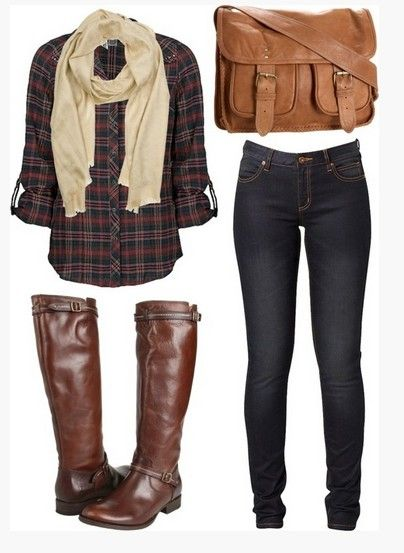 Casual Outfit Ideas for Women 2014   Casual Plaid Outfit, plaid shirt, tan scalf, Skinnies and Brown Knee ...