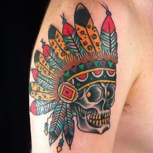 Native skull traditional chief tattoo | Inked Out ...
