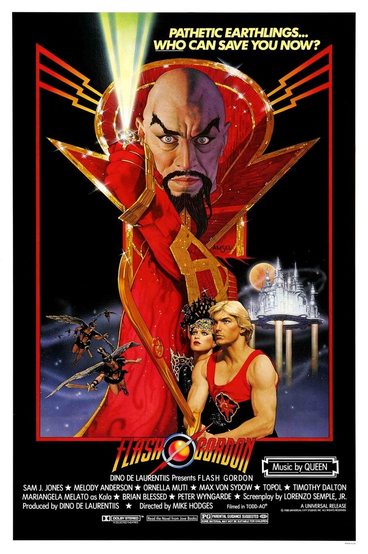 Heroic earthling Flash Gordon saves the world from the nefarious Ming the Merciless in this lavish, intentionally campy adaptation of the famous sci-fi comic strip. Description from drafthouse.com. I searched for this on bing.com/images