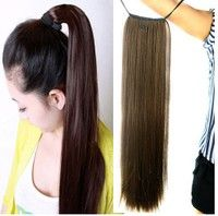 Wish | Women's Ladies Girls 50cm Long Straight Hair Piece Steel Synthetic Ponytail Hair Extensions Beautiful Hair piece