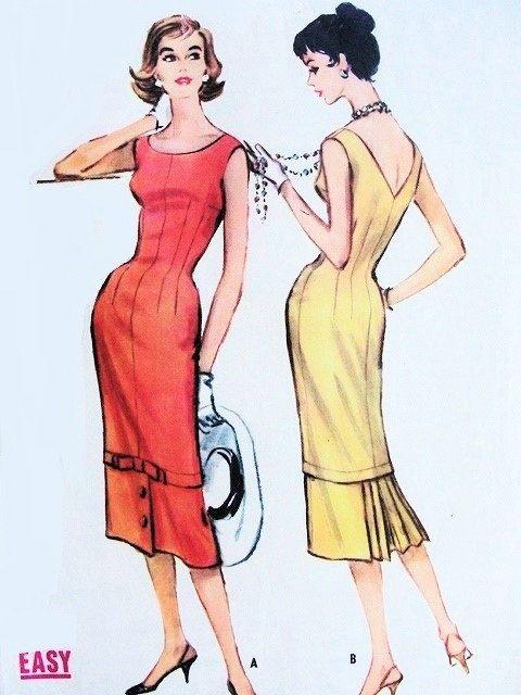 Patrons de couture vintage authentique: il s'agit d'une fabuleuse robe originale, fabrication de patron, pas une copie. Parce que les patrons de couture sont vintage et pré appartenant, nous vérifions chaque patron de couture vintage pour être complet, pour les pièces du patron et la feuille d'instruction. Dans de nombreux cas les motifs vintages n'ont jamais été utilisés et sont non-coupe et l'usine plié.  Motif : McCall Numéro de modèle #4584 Droit dauteur : 1958  Le motif est : complet…