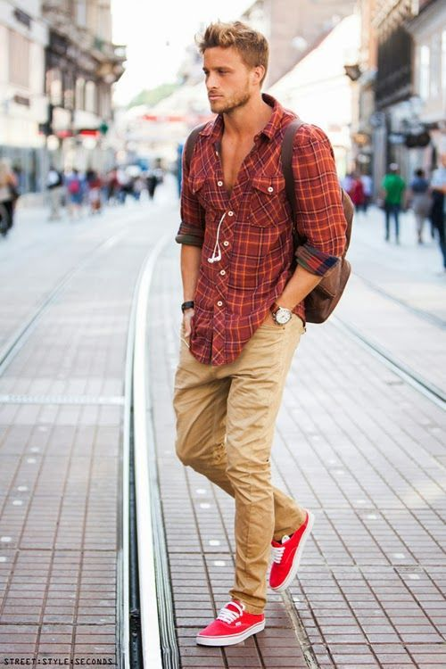 Plaid shirt-Check, Leather watch-check, tan cargo pants-check, And an extra surprise, colored shoes!
