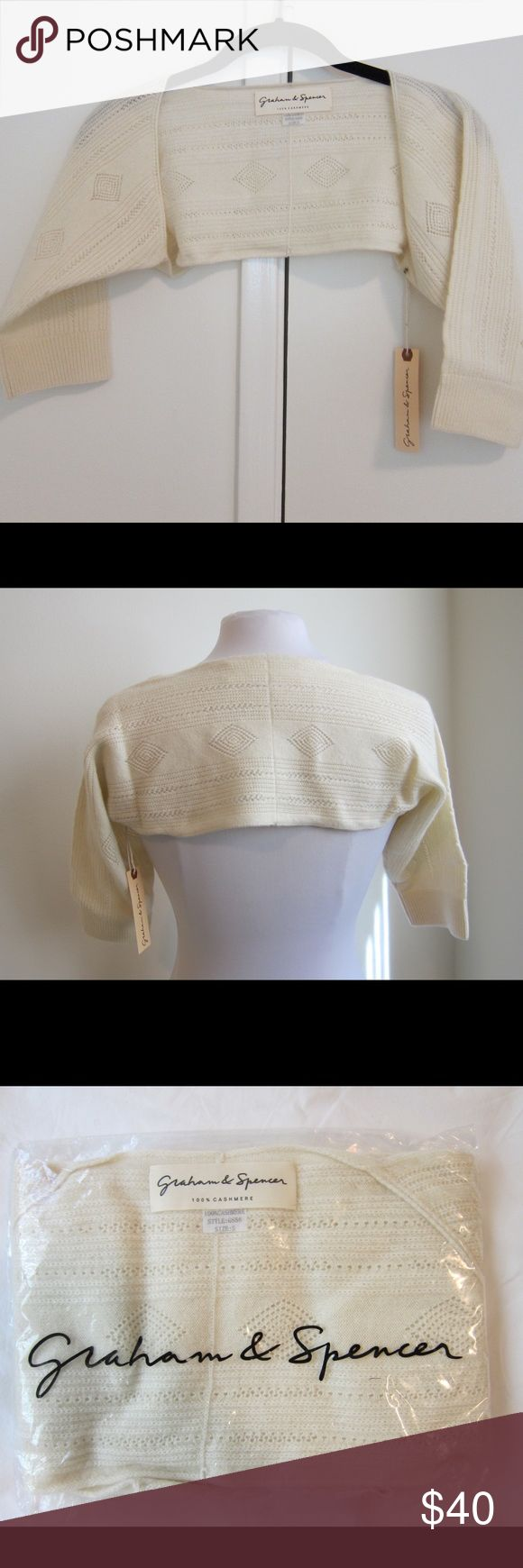 NWT Graham & Spencer Cashmere sweater shrug NWT Graham & Spencer Super cute Cashmere Cream sweater shrug. In original package - only removed for photos.  Pet free/smoke free home. Graham & Spencer Sweaters Shrugs & Ponchos