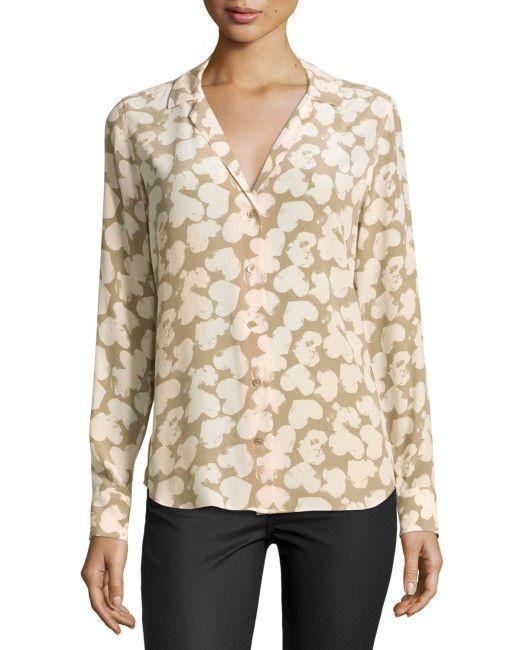 "NWT Equipment ""Adalyn"" heart-print 100% SILK Long-sleeved Blouse in Nude - SMALL"