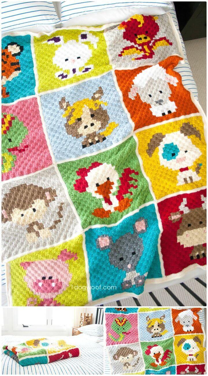 Crochet Zoodiacs C2C Afghan Pattern - Crochet Afghan Patterns - 41 Free Patterns for Beginners - DIY & Crafts
