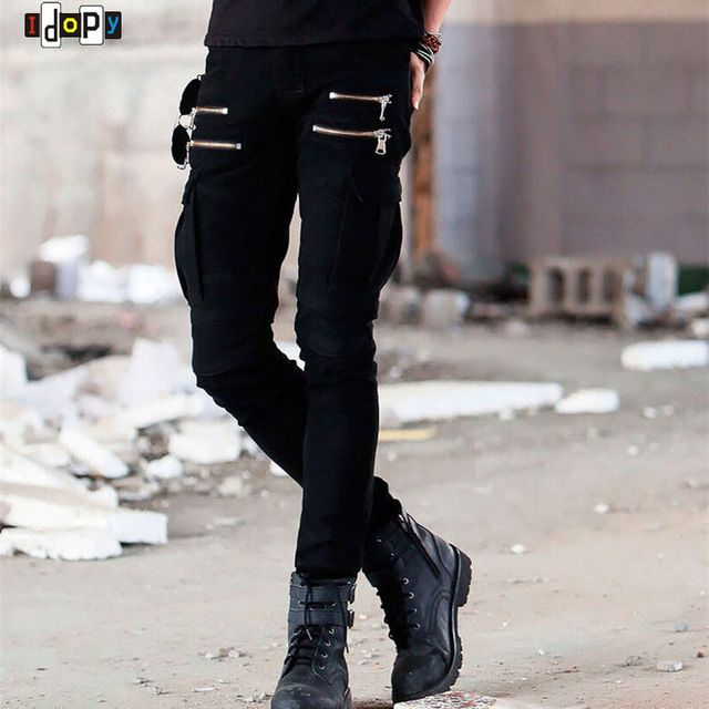 Good price Hi Street Mens Cargo Jeans Designer Muli Pockets Zippers Hip Hop Skinny Elastic Runway Army Style Biker Motorcycle Denim Pants just only $28.48 with free shipping worldwide  #jeansformen Plese click on picture to see our special price for you