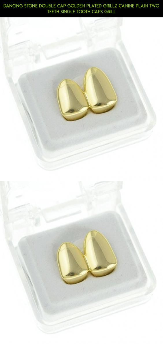 Dancing Stone Double Cap Golden Plated Grillz Canine Plain Two Teeth Single Tooth Caps Grill #racing #camera #shopping #technology #parts #grills #kit #drone #plans #tech #tooth #gadgets #fpv #8 #products