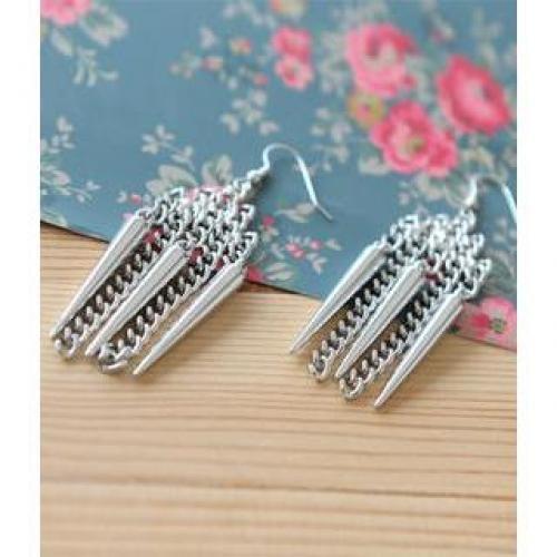 Spiky Drop Earrings Silver - One Size