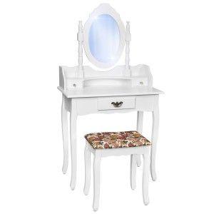 TecTake   Kosmetický toaletní stolek zrcadlo a stolička