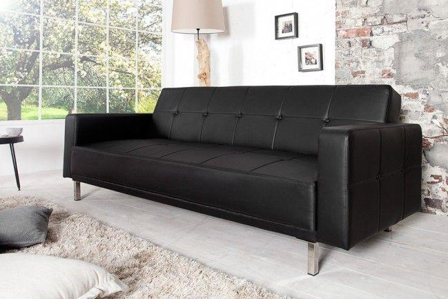 Design Schlafsofa MANHATTAN schwarz mit hochwertigem Aufbau in 215cm  --   Riess-Ambiente.de