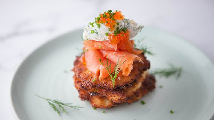 Crispy Potato Latke with Smoked Salmon and Crème Fraiche