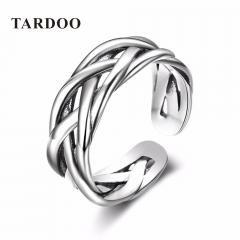 [ 20% OFF ] Tardoo Adjustable Size Popular 925 Sterling Silver Weaving Knot Rings For Women & Men Brand Fine Jewelry