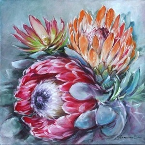 """Proteas (IV)"" actually oils - but a lovely composition that would look good in watercolors"