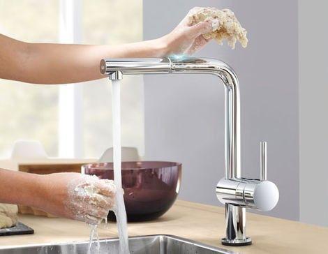 Hygiënische keukenkraan GROHE Minta Touch https://www.thuiscomfort.nl/producten/grohe/hygienische-keukenkraan-grohe-minta-touch.html