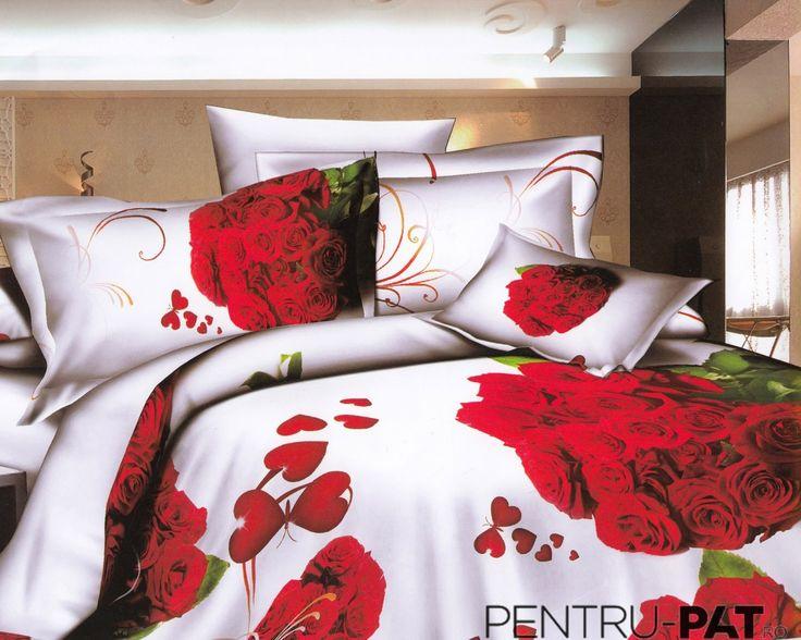 Lenjerie de pat bumbac satinat Pucioasa 3D cu inimioare si buchete de trandafiri