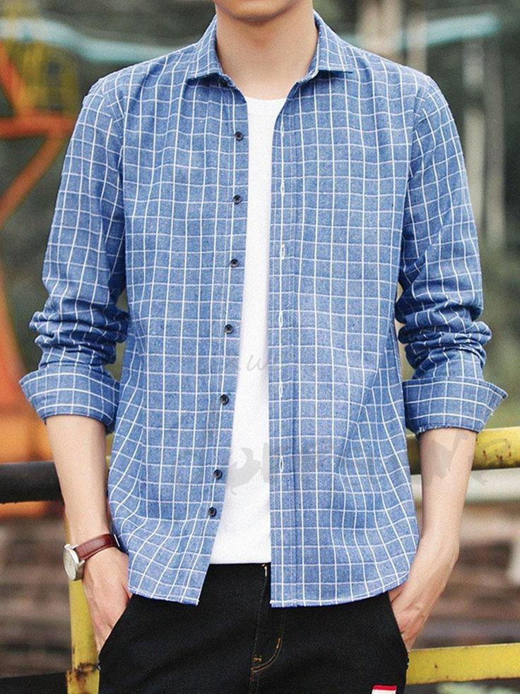 長袖チェック柄メンズカジュアルシャツ 12942050 - メンズシャツ - Doresuwe.Com