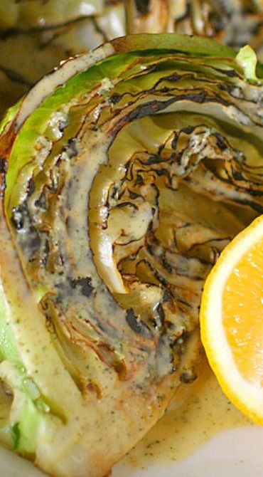 Grilled Cabbage Wedges with Lemon Thyme Dressing