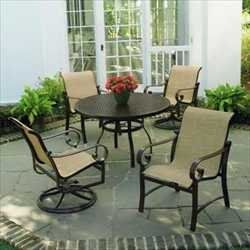 "Wilshire Sling Dining Groups - 48"" Round Dining Table with 2 Dining Chairs & 2 Swivel Rockers - Aluminum Patio Furniture by Woodard. $1499.00. Aluminum Patio Sling Dining Groups - 48"" Round Dining Table with 2 Dining Chairs & 2 Swivel Rockers. Visit our site for Sling Color and Aluminum Finish options. Elegantly traditional, Wilshire has the look of a solid, bar stock aluminum design that offers generous size and comfort. Constructed of rustproof aluminum, select from eight e..."