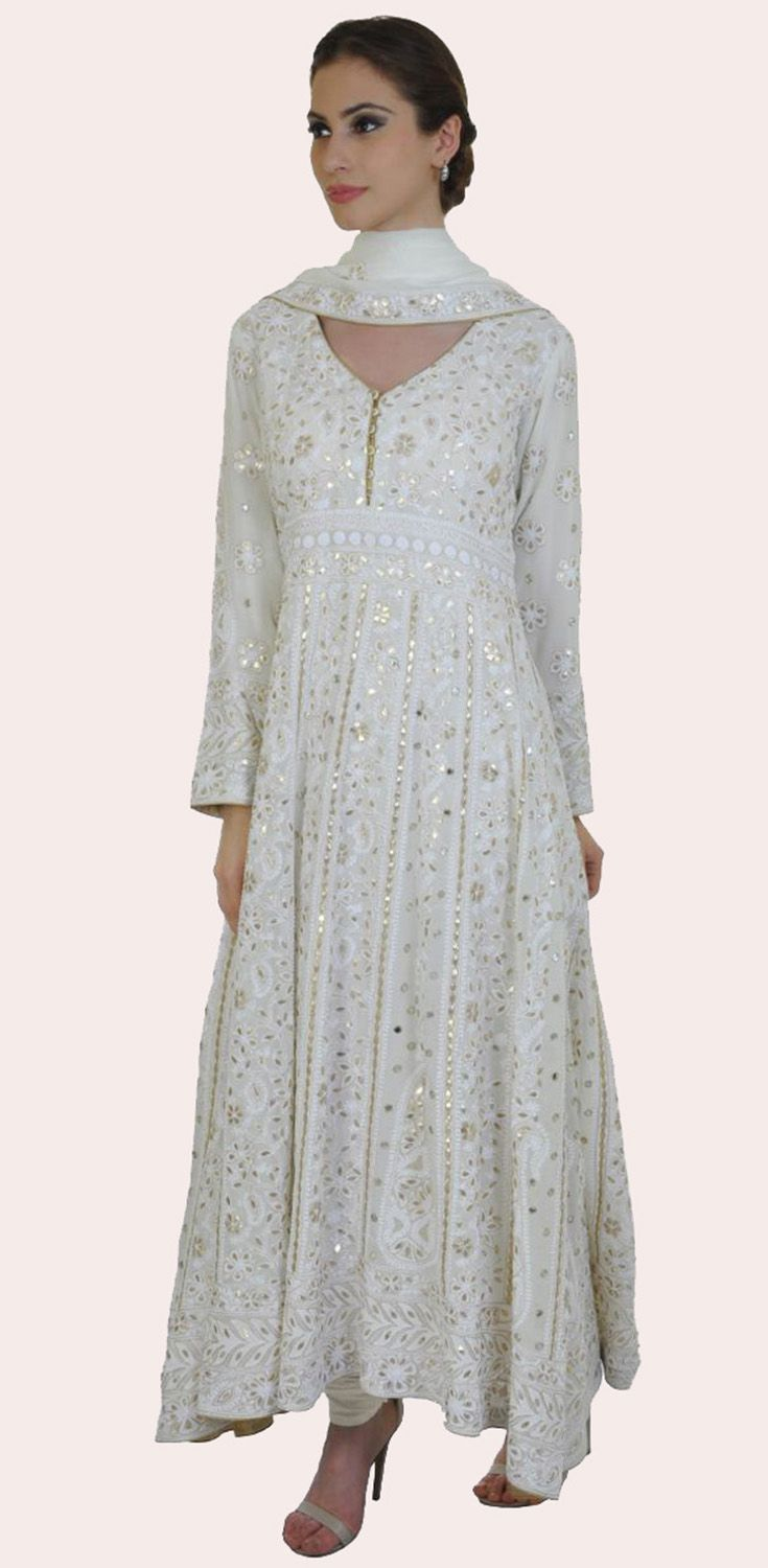 Ivory Chikankari Gota Patti and Mirror Work Anarkali Pure Georgette Suit