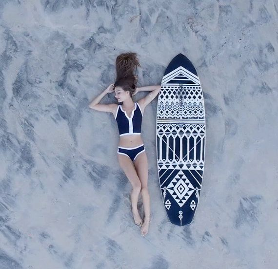Black an White Tribal Hand Painted Surfboard