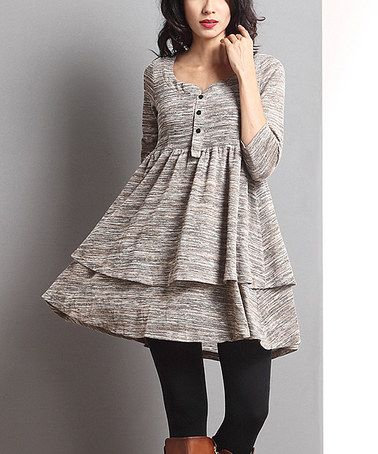 Oatmeal Mélange Layered Button-Front Tunic #zulily #zulilyfinds