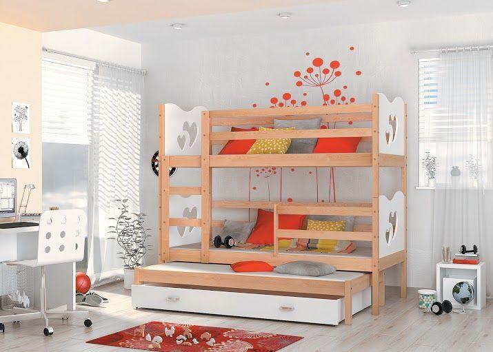 Łóżko dla dzieci MAX 3 jest niezwykle praktyczne i wykonane jest z naturalnego drewna sosnowego i płyty meblowej.