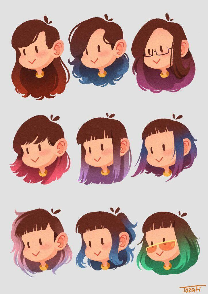Draw Cartoon Hair Hairstyledesignlonghair Cartoon Hair Cartoon Artist Face Drawing