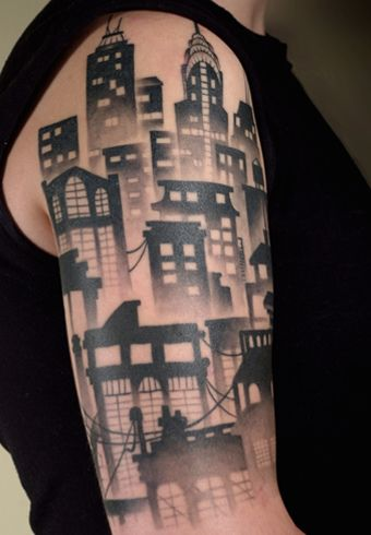 2h city skyline tattoo tattoos pinterest portland the building and sleeve. Black Bedroom Furniture Sets. Home Design Ideas