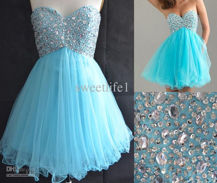 Sweetheart Stock Light Blue Graduation Dresses For College High School 8th Grade Tulle Beads Short A Line Homecoming Party PromGown2013 @Michelle Flynn Kennedy-Daws