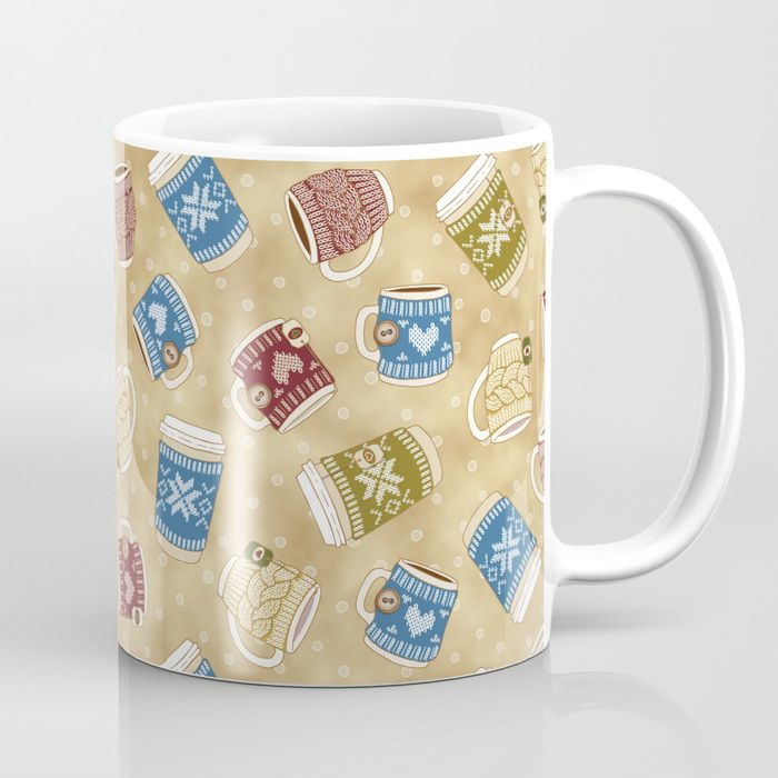 Available in 11 and 15 ounce sizes, our premium ceramic coffee mugs feature wrap-around art and large handles for easy gripping. Dishwasher and microwave safe, these cool coffee mugs will be your new favorite way to consume hot or cold beverages. #Cozy #Knitted #Mugs #Macchiato #Chocolate #Tea #coffee #hygge #mia #miavaldez #society6