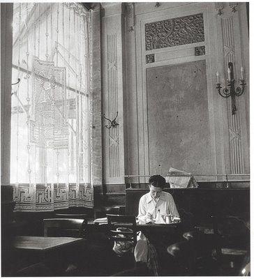 Simone de Beauvoir at the Cafe des Deux Magots, Robert Doisneau, 1944